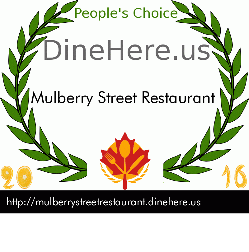 Mulberry Street Restaurant DineHere.us 2016 Award Winner